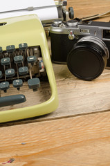 Typewriter and camera
