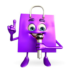 Shopping bag character with mike
