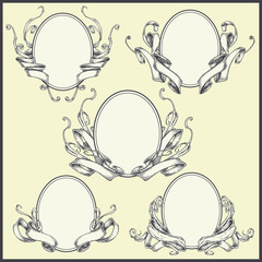 Ribbon frame and border ornaments set 04