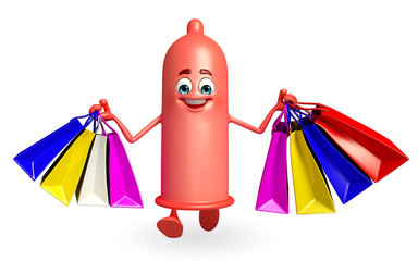 Condom Character with shopping bags