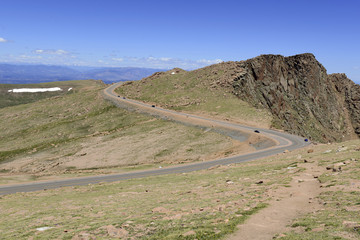Summit road on Pikes Peak, Colorado 14er, USA