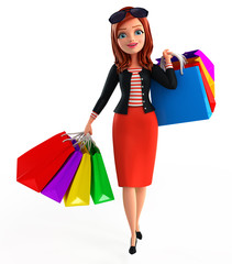 Young Corporate lady with shopping bags