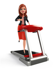 Young Corporate lady with walking machine