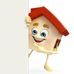 House character with  sign