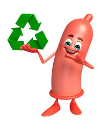 Condom Character with recycle sign
