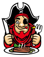 pirate eat steak