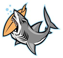 shark bite a surfboard