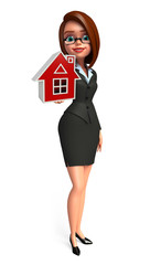 Young Business Woman with home sign