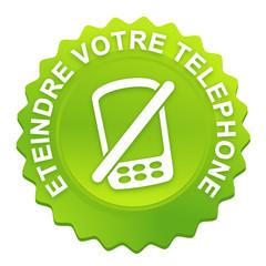 éteindre votre téléphone sur bouton web denté vert