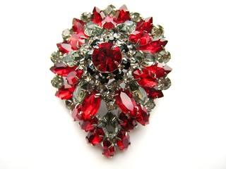 Huge Red Rhinestone Vintage Brooch