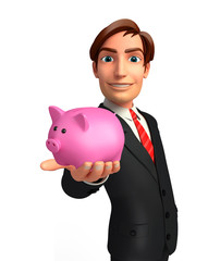 Young Business Man with piggy bank