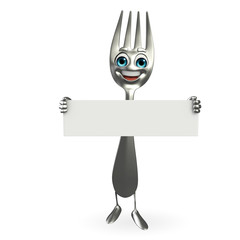 Fork character with sign