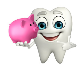 Teeth character with piggy bank