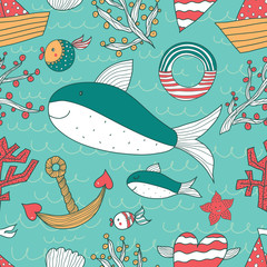 Colorful seamless pattern. Sea.