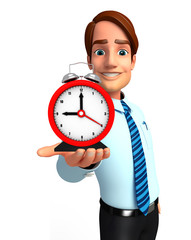 Young Service Man with table clock