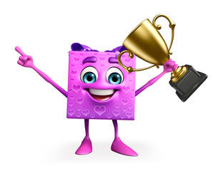 Gift Box Character with trophy