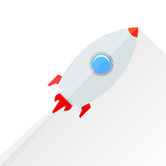 Flat rocket flying isolated over white