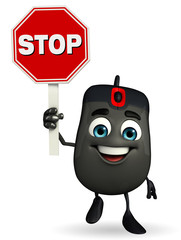 Computer Mouse Character with stop sign