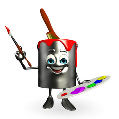 Paint Bucket Character with Color plate