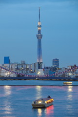 View of Tokyo sky tree and sumida river at twilight