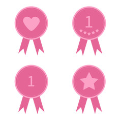 Badge set with heart star number one and ribbons. Award icon set