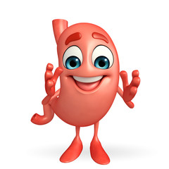 Cartoon Character of stomach happy pose