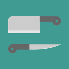 Big steel kitchen knife set. Flat design style.