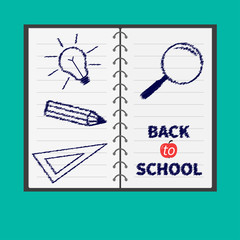 Notebook paper. Magnifer pencil bulb ruller. Flat Back to school