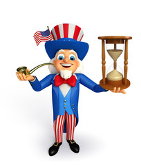 Uncle Sam with sand clock