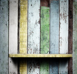 Wooden shelves, grunge industrial interior Uneven diffuse lighti poster