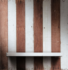 Wooden shelves, grunge industrial interior Uneven diffuse lighti