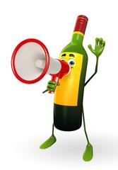Wine Bottle Character with Loudspeaker