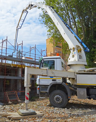 Construction site - pump truck at work