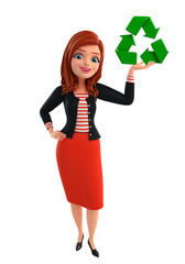 Young Corporate lady with recycle icon