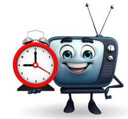 TV character with table clock