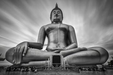 Big Golden Buddha with sky at Wat Muang, Ang Thong Province