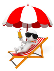 White character with umbrella and relax chair