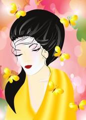 kobieta w kimonie,