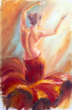 Fototapety Beautiful dancing woman in red. Oil painting.