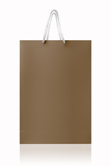 Brown recycled shopping bag, isolated with clipping path on whit