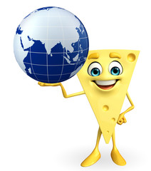 Cheese Character with globe