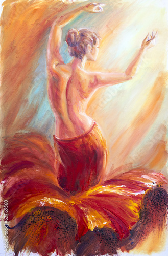 Beautiful dancing woman in red. Oil painting. - 67769560