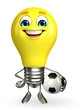 Light Bulb Character with football