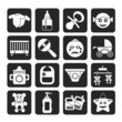 Silhouette Baby, children and toys icons