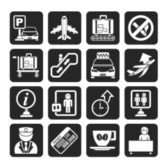 Silhouette Airport and transportation icons