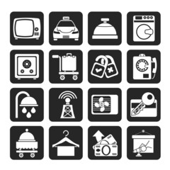 Silhouette Hotel and motel room facilities icons