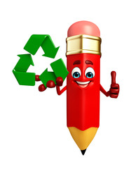 Pencil Character with recycle icon