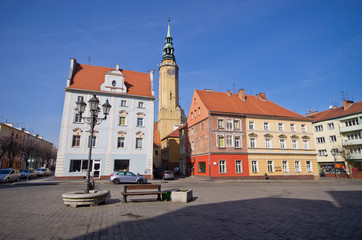 Town square in Brzeg, Poland