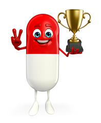 Pill Character with trophy