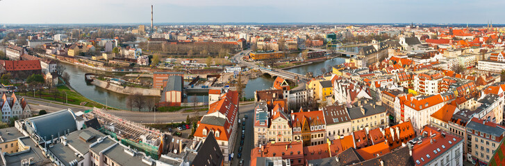 Panoramic cityscape of Wroclaw, Poland